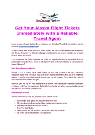 Get Your Alaska Flight Tickets Immediately with a Reliable Travel Agent
