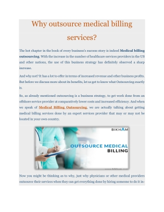 Why outsource medical billing services?