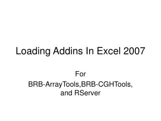 Loading Addins In Excel 2007