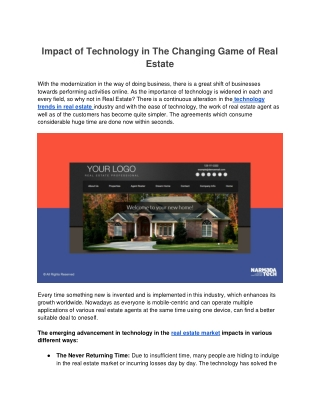 Impact of Technology in The Changing Game of Real Estate