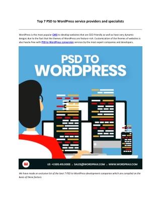 Best 7 PSD to WordPress development companies