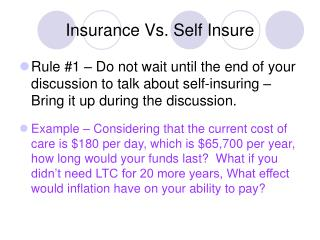Insurance Vs. Self Insure
