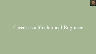 Career as a Mechanical Engineer
