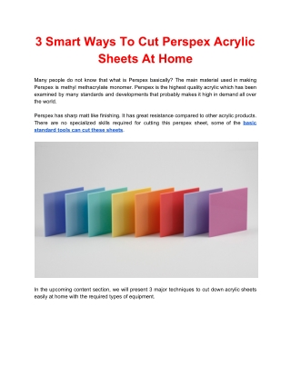 3 Smart Ways To Cut Perspex Acrylic Sheets At Home