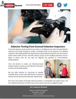 Asbestos Testing from licensed Asbestos Inspectors