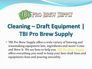 Cleaning - Draft Equipment | TBI Pro Brew Supply