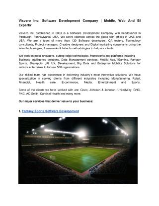 Visvero Inc: Software Development Company | Mobile, Web And BI Experts