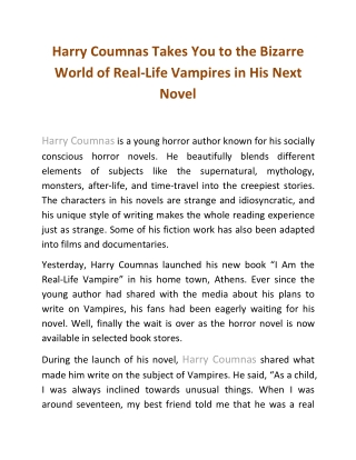 Harry Coumnas Takes You to the Bizarre World of Real-Life Vampires in His Next Novel