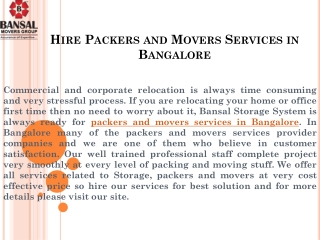 Hire Packers and Movers Services in Bangalore