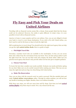 Fly Easy and Pick Your Deals on United Airlines