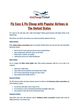 Fly Easy & Fly Cheap with Popular Airlines in The United States