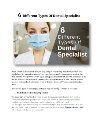 6 Different Types Of Dental Specialist
