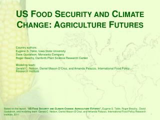 US Food Security and Climate Change: Agriculture Futures