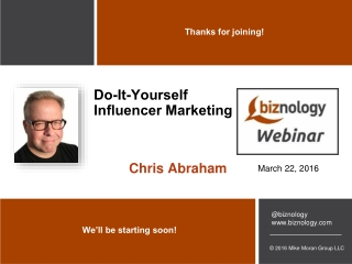 DIY Influencer Marketing Webinar Slides for Biznology