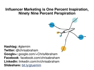 Influencer Marketing is One Percent Inspiration, Ninety Nine Percent Perspiration