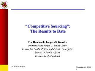 """Competitive Sourcing"": The Results to Date"
