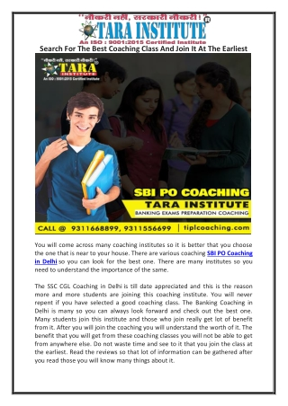 Search For The Best Coaching Class And Join It At The Earliest