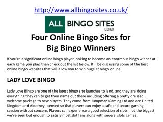 Four Online Bingo Sites for Big Bingo Winners