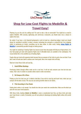 Shop for Low-Cost Flights to Medellin & Travel Easy
