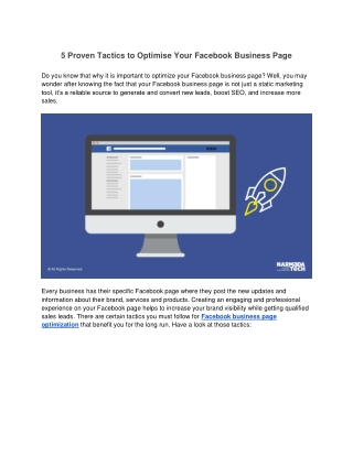 5 Proven Tactics to Optimise Your Facebook Business Page