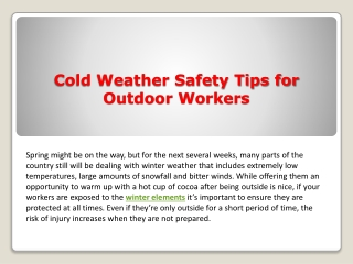 Cold Weather Safety Tips for Outdoor Workers