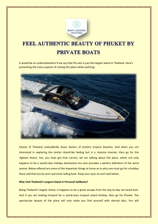 FEEL AUTHENTIC BEAUTY OF PHUKET BY PRIVATE BOATS