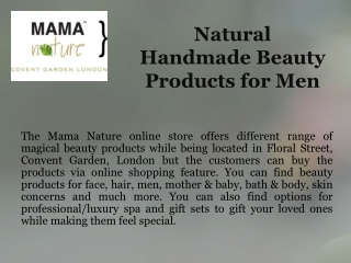 Natural Handmade Beauty Products for Men