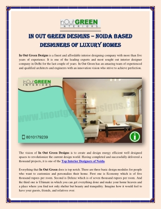 In Out Green Designs – Noida Based Designers of Luxury Interiors