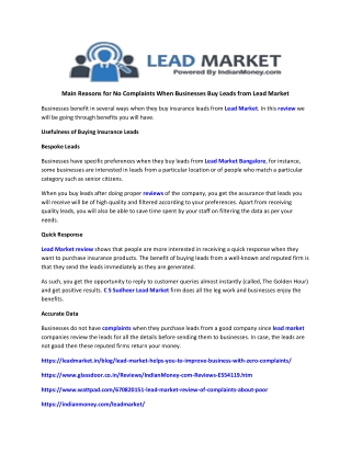 Main Reasons for No Complaints When Businesses Buy Leads from Lead Market
