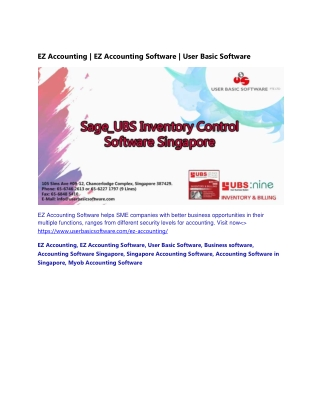 EZ Accounting   EZ Accounting Software   User Basic Software