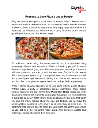 Reasons to Love Pizza a Lot by People