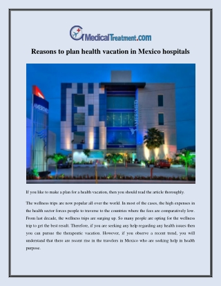 Reasons to plan Mexico hospitals for health vacation