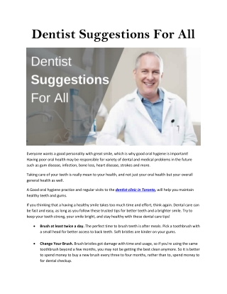Dentist Suggestions For All