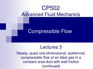 CP502  Advanced Fluid Mechanics