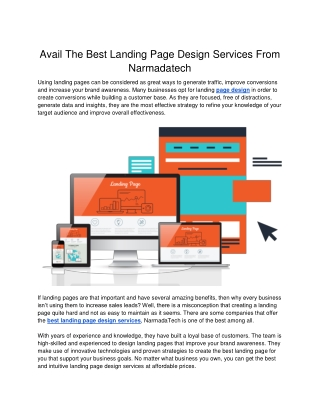 Avail The Best Landing Page Design Services From Narmadatech