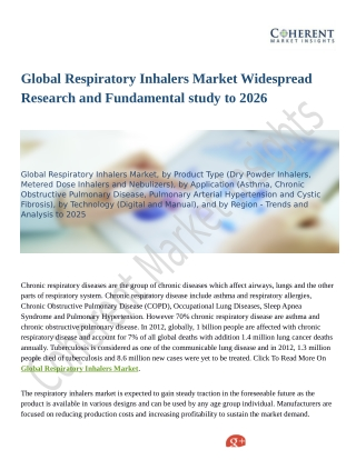 Global Respiratory Inhalers Market Widespread Research and Fundamental study to 2026