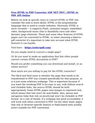 Free html to pdf converter asp net mvc