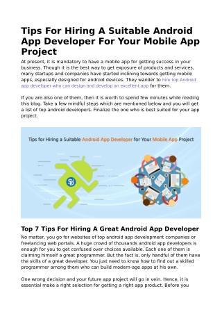 Tips For Hiring A Suitable Android App Developer - Semidot Infotech