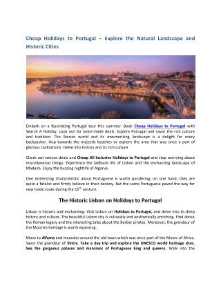 Cheap Holidays to Portugal | Portugal Holidays | Compare Holidays