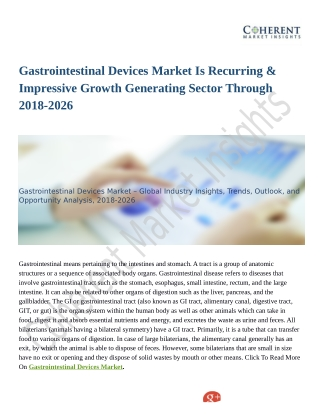 Gastrointestinal Devices Market Expansion to be Persistent During 2026