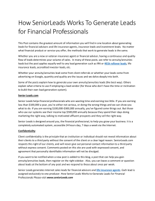 How SeniorLeads Works To Generate Leads for Financial Professionals