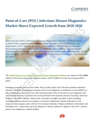 Point-of-Care (POC) Infectious Disease Diagnostics Market: Competitive Intelligence and Tracking Report 2018 – 2026