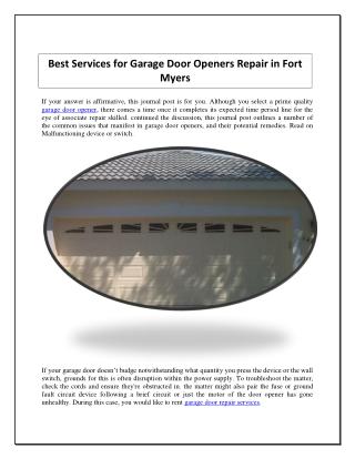 Best Services for Garage Door Openers Repair in Fort Myers