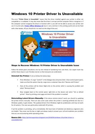 Windows 10 Printer Driver Is Unavailable