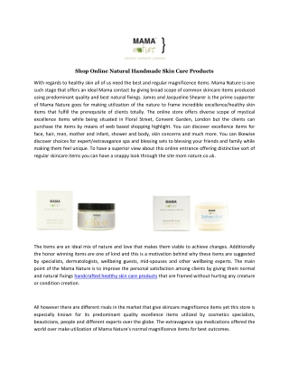 Shop Online Natural Handmade Skin Care Products