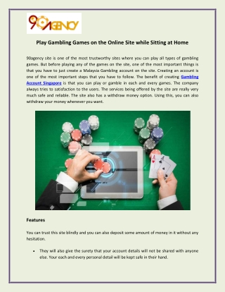 Play Gambling Games on the Online Site while Sitting at Home