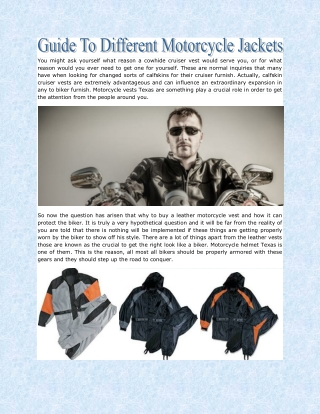 Guide To Different Motorcycle Jackets