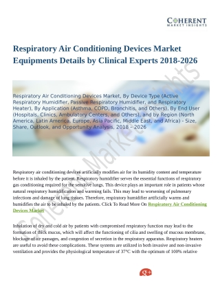 Respiratory Air Conditioning Devices Market To Grow Like Never Before By 2026