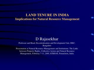 LAND TENURE IN INDIA Implications for Natural Resource Management