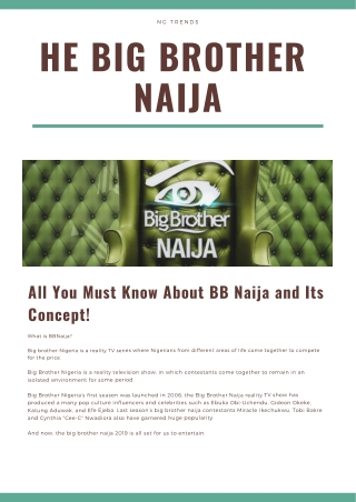 NG Trends: All You Must Know About BB Naija and Its Concept!